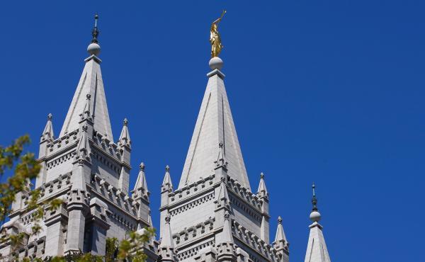 The spires of the Church of Jesus Christ of Latter-day Saints' historic Salt Lake Temple on April 2 in Salt Lake City, Utah.
