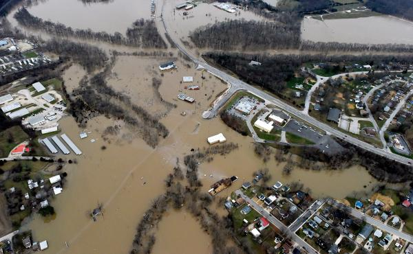 Submerged roads and houses are seen after several days of heavy rain led to flooding, in an aerial view over Union, Missouri, on Tuesday.