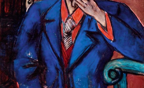 Self-Portrait in Blue Jacket (1950), by Max Beckmann. The painter had been on his way to see an exhibit featuring this self-portrait at the time of his heart attack.