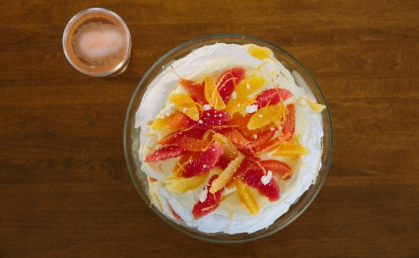 Pastry chef Aggie Chin shares her recipes for a dinner party dessert, a citrus pavlova cake, and festive drink of pink champagne and a dollop of grapefruit sorbet.