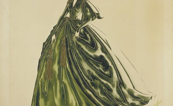 Costume designer Walter Plunkett made an intricate watercolor design for Scarlett O'Hara's famous curtain dress in Gone with the Wind.