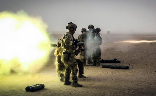 Coalition forces fire a Carl Gustaf recoilless rifle during a training exercise in Afghanistan's Helmand province in 2013.