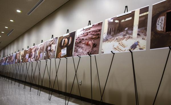 Images of dead bodies in Syrian prisons, taken by a Syrian government photographer, are displayed at the United Nations on March 10. The photographer, who goes by the pseudonym Caesar, took the pictures between 2011, when the Syrian uprising began, and 20
