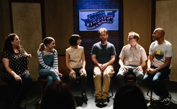 "Don't Think Twice is about fame and friendship,"" but mostly it's a celebration of improv. (Pictured: Tami Sagher, Gillian Jacobs, Kate Micucci, Mike Birbiglia, Chris Gethard and Keegan-Michael Key)"