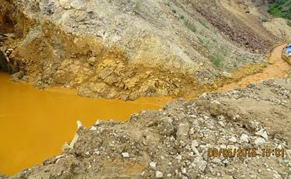 Contaminated wastewater is seen at the entrance to the Gold King Mine in San Juan County, Colo., in this picture released by the Environmental Protection Agency. The photo was taken Wednesday; the plume of contaminated water has continued to work its way