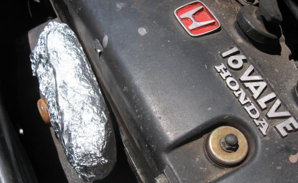 Heat up a frozen burrito by putting it on a hot car engine. It goes from frozen to hot in about 20 minutes, says touring musician Sharon Martinson.