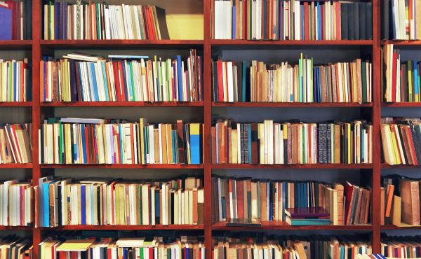Old books in a secondhand bookstore. Some of them are peeling.