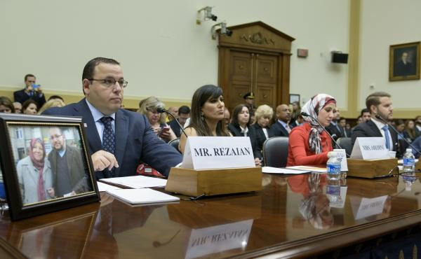 Family members of Americans held or missing in Iran attend a hearing of the Foreign Affairs Committee on Capitol Hill on Tuesday. From left: Ali Rezaian, brother of Washington Post journalist Jason Rezaian; Nagameh Abedini, wife of Saeed Abedini; Sarah He