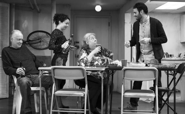 The Humans is set during a family's Thanksgiving dinner, hosted by the youngest daughter and her boyfriend. (Pictured: Reed Birney, Sarah Steele, Jayne Houdyshell, Arian Moayed)