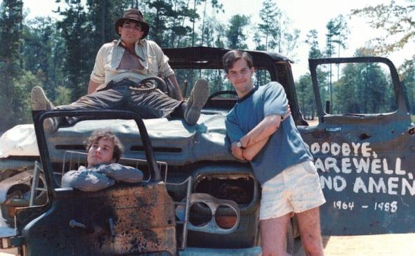Chris Strompolos, Eric Zala and Jayson Lamb pose with their broken-down prop truck they used in their shot-for-shot remake of Raiders of the Lost Ark.