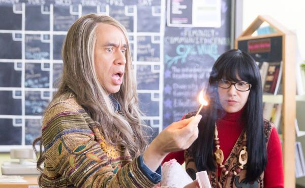 Fred Armisen performs as Candace and Carrie Brownstein as Toni in a Portlandia sketch about two feminist bookstore owners  in Portland.
