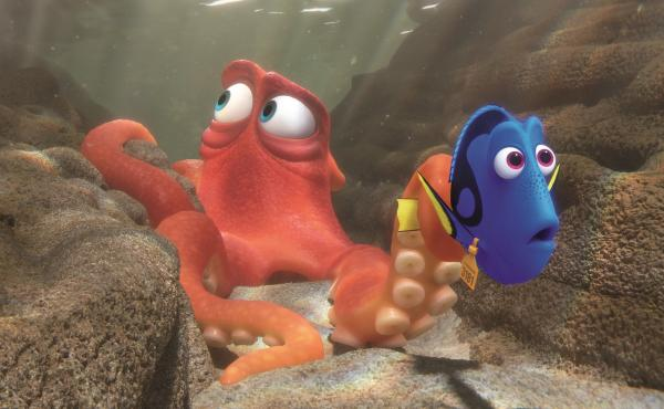 Hank (Ed O'Neill) and Dory (Ellen DeGeneres) in Finding Dory.
