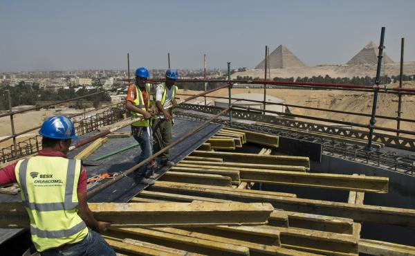 The new Grand Egyptian Museum, seen here near the pyramids of Giza in June 2015, is due to open late next year. It will display thousands of artifacts, many of them never shown publicly before.