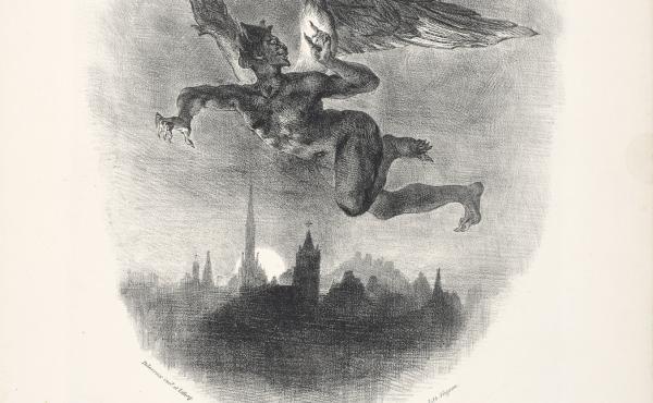In Eugène Delacroix's 1827 lithograph, Mephistopheles Aloft, 1827, a demon flies over a dark city.