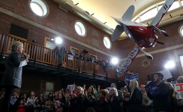 Hillary Clinton speaks at the Lyman & Merrie Wood Museum of Springfield History in Massachusetts on Monday.
