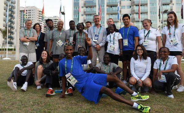 Members of the Refugee Olympic Team have their picture taken with United Nations High Commissioner for Refugees Filippo Grandi and UNHCR staff inside the Olympic Village. For the first time in Olympic history, the International Olympic Committee has creat