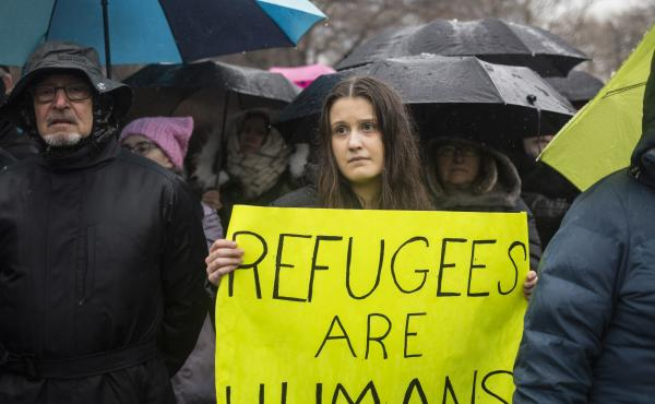 The Hebrew Immigrant Aid Society or HIAS, a Jewish group that supports refugee resettlement, held a rally against President Trump's immigration ban on Feb. 12 in New York City. The group worries that giving governors the power to veto arrivals — somethi