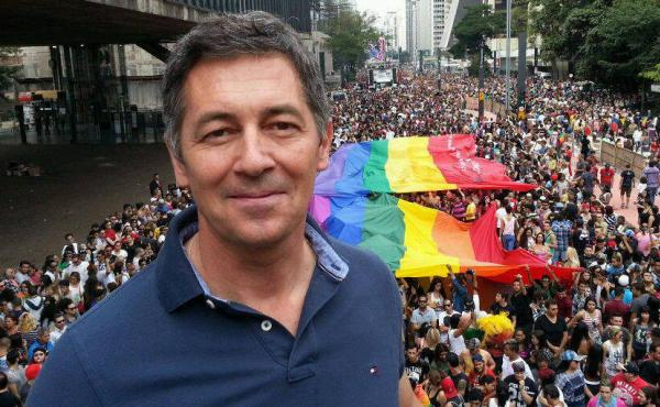 Randy Berry, the first U.S. special envoy for the rights of LGBTI persons, is shown at a gay pride rally in Sao Paulo, Brazil, last June. He says the U.S. is supporting activists worldwide but recognizes the risks they face in many countries. A gay activi