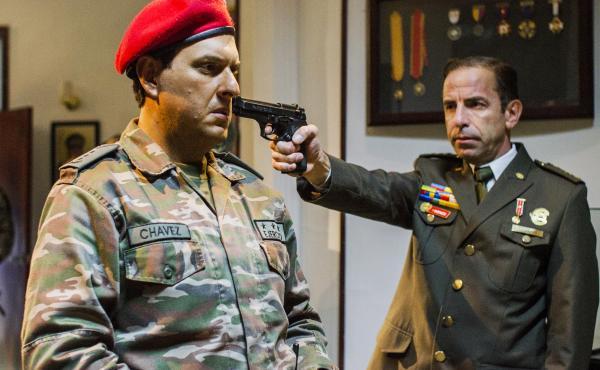 Colombian actor Andres Parra (left) plays Hugo Chavez in the new telenovela, El Comandante.
