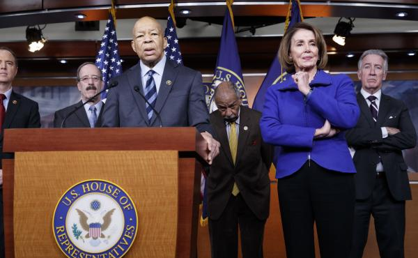 Top House Democrats, including Rep. Elijah Cummings, D-Md. (at the podium), said this week they want an investigation into President Trump's connections with Russia, such as when he learned that his national security adviser, Michael Flynn, had discussed