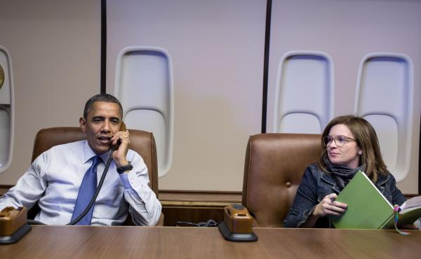 Alyssa Mastromonaco sits with President Barack Obama aboard Air Force One in 2012. Mastromonaco served as the president's director of scheduling and advance from 2009 until 2011, then became his deputy chief of staff for operations from 2011 until 2014.