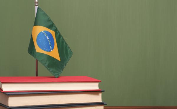 Books and flag of Brazil.