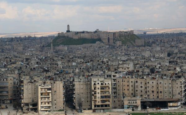 The northern Syrian city of Aleppo — shown here pm March 3 — was once home to a thriving Jewish community. Now its Jews have fled. And for one family, reportedly the last Jews of Aleppo, getting out of Syria wasn't the end of the story.