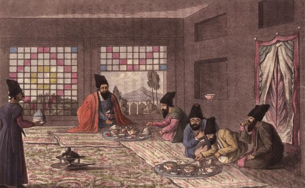 Persian men kneel on the floor to enjoy breakfast in an illustration by James Morier, published in 1818. Because of Iran's strategic position on the ancient Silk Road, Persian culture was disseminated far and wide. There's no better evidence of this than