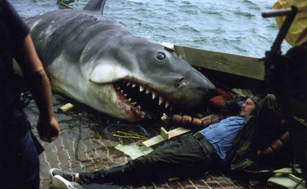 Actor Robert Shaw, who played the shark hunter Quint in Jaws, takes a break from lunch. Or rather, from being lunch.