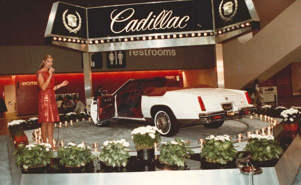 Anita Mitzel spent eight years working as a narrator at auto shows. In 1981, she presented for Cadillac at the San Francisco Auto Show.