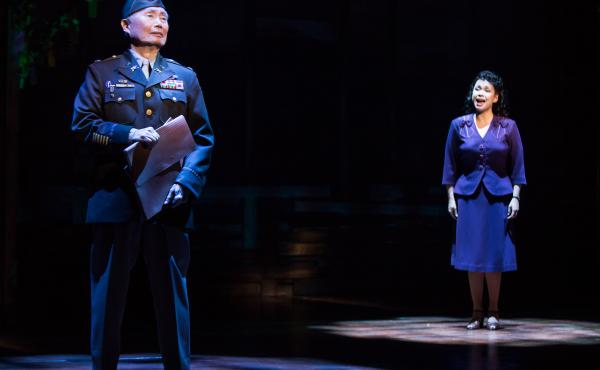 George Takei and Lea Salonga in a scene from the musical Allegiance.