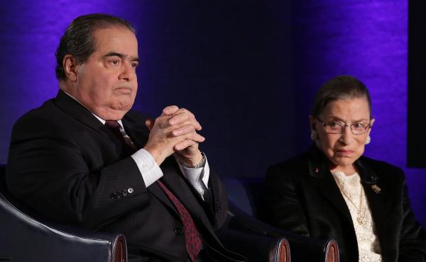 Supreme Court Justices Antonin Scalia and Ruth Bader Ginsburg in 2014.