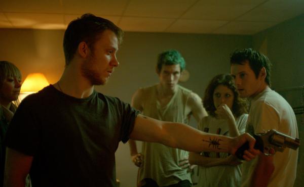 Joe Cole, Callum Turner, Alia Shawkat and Anton Yelchin in Green Room.