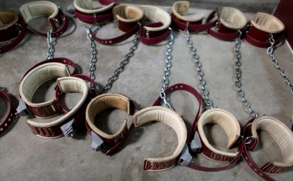Leg shackles lie on the floor at Camp 6 detention center in Guantanamo Bay, Cuba, on Jan. 21, 2009.