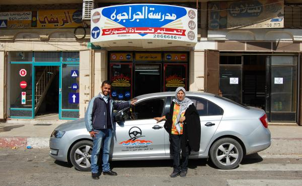 Mohammad al-Hattab (left) and Samira Syam both teach driving at the al-Jarajwa school in Gaza City. Hattab was stopped by Hamas police, and his permit to teach temporarily revoked, for driving alone with a female student. Syam says nobody bothers her if s