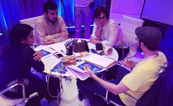 Haqqathon-ers from the winning team, which developed the social media site Champions of Islam, at the event in Abu Dhabi, United Arab Emirates.