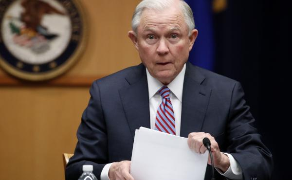 """Hawaii's Democratic lawmakers are criticizing Attorney General Jeff Sessions after he expressed amazement on a radio show that a """"judge sitting on an island in the Pacific"""" could stop the president's travel ban. Above, Sessions at the Department of Justic"""