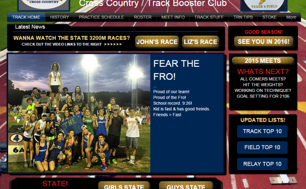 """The website of the West Forsyth High School track program with the words """"Fear the Fro!"""" to show support for senior runner John Green, who was disqualified for wearing a headband during the state championship meet."""