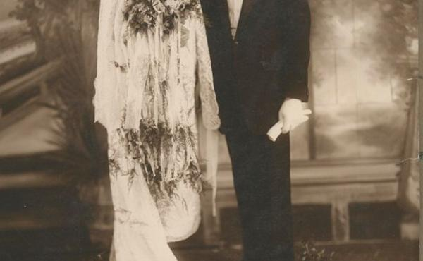 "Louise and Michael Toscano, mother and father of Brooklyn Public Library patron Vera Toscano, on their wedding day. The reception was at the Grand Paradise Ballroom in the Williamsburg neighborhood on May 9, 1926. The photo is now part of the ""Culture in"