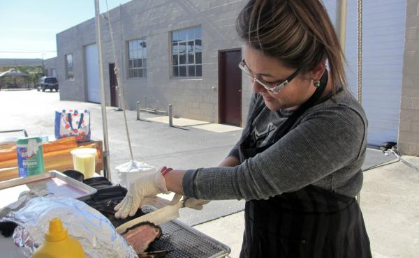 Food stylist Melissa McSorley demonstrates how she prepared the Cubano sandwich from the movie Chef.