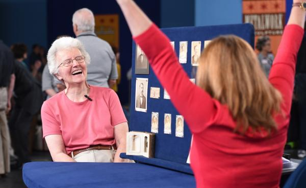 """Even Leila Dunbar (right), Antiques Roadshow appraiser, was overwhelmed by the collection. """"It is the greatest archive that I have ever had at the Roadshow,"""" she says."""