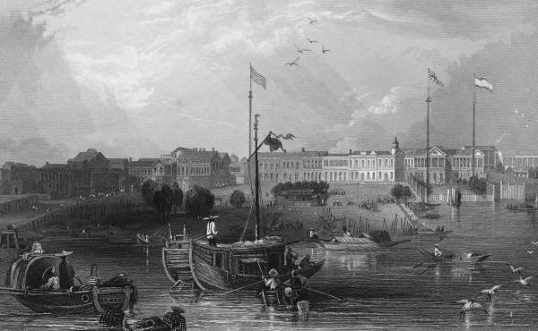 A view of Canton (Guangzhou), on the Pearl River in China, circa 1840. Canton was already a great trading port when the American ship Empress of China arrived in 1784 to fill up its hold with tea.