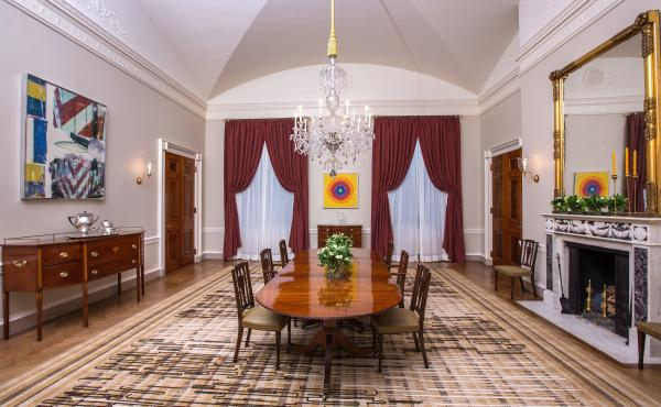 Alma Thomas' artwork Resurrection adorns the far wall of the Old Family Dining Room of the White House.