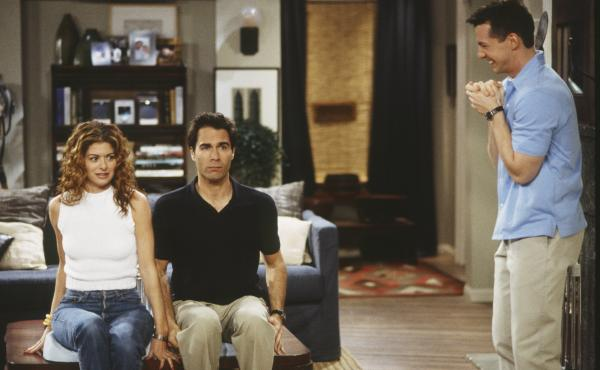 Debra Messing, Eric McCormack and Sean Hayes in a scene from Will & Grace.