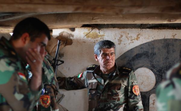 Kurdish Peshmerga fighters are separated from Islamic State extremists by only short distances in some places around Mosul in northern Iraq, but there has not been heavy fighting recently or any changes in the front lines.