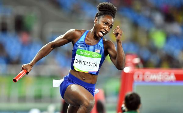 Tianna Bartoletta competes in a rerun for the U.S. team in the women's 4x100m relay at the Olympic Games on Thursday.