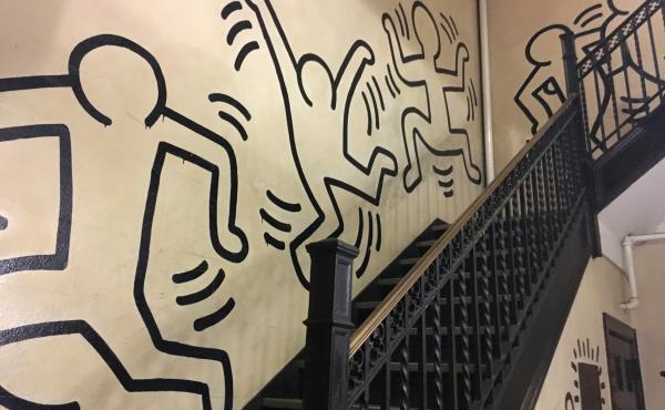 Celebrated street artist Keith Haring painted this mural in the stairwell of a former convent in the 1980s. Now, the church that owns the Manhattan building — which offered low-cost housing — says it's suffering financial difficulties and has asked it