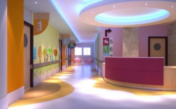 An interior view of the plans for the Gaza children's cancer treatment center.