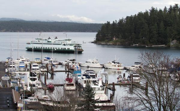 The ferry pulls in to Friday Harbor, the only incorporated city in San Juan County, Wash. Veterans will often travel the hourlong ferry ride to reach VA services here.