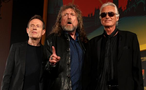 "John Paul Jones, Robert Plant and Jimmy Page of Led Zeppelin. The band's ""Stairway to Heaven"" is the subject of a current copyright-infringement lawsuit."